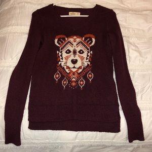 Hollister Maroon Fox Bear Animal Sweater